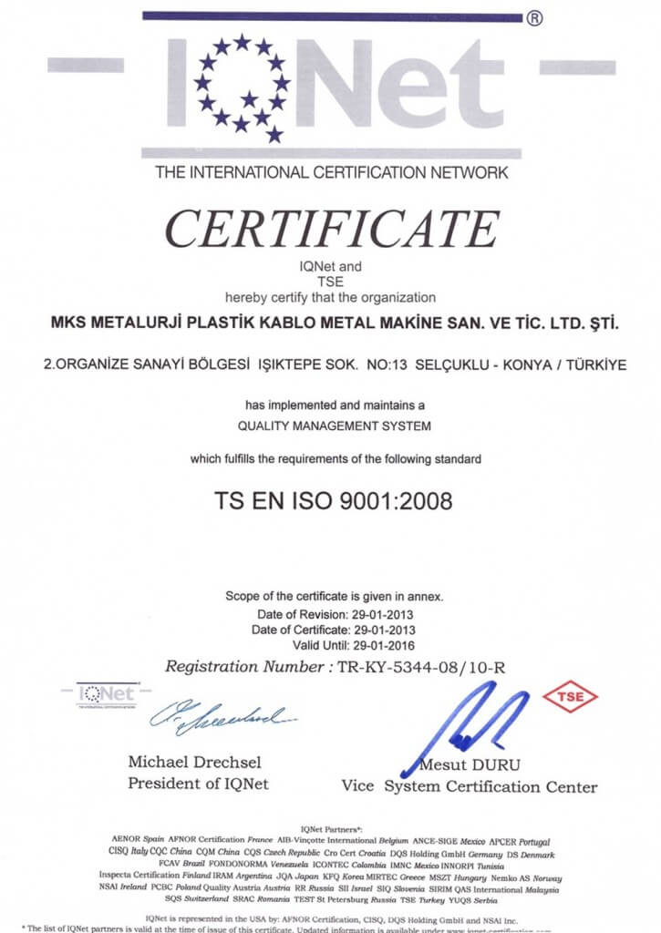 IQ NET TSE EN ISO 9001 Certification
