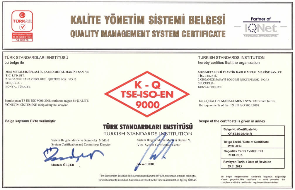 TSE ISO 9001 Certification 1