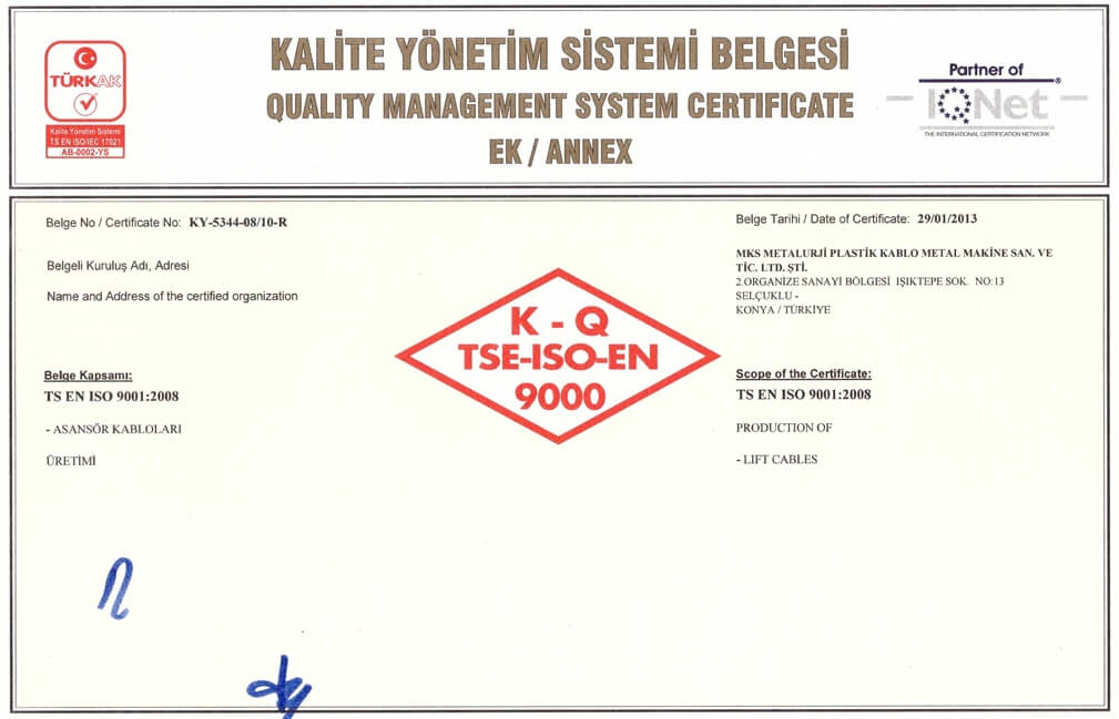TSE ISO 9001 Certification 2